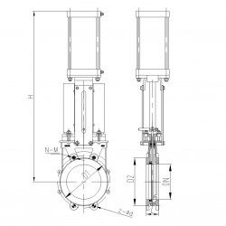 UNI-DIRECTION, NON RISING STEM, DA PN. ACTUATOR, IND. SWITCH 50MM PN 10 DA PN. ACTUATOR UNI DIRECTION KNIFE GATE VALVE