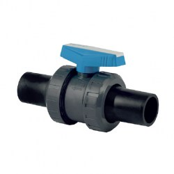 SERIE U-PVC BOTH SIDE HDPE SPIGOT OUTLET TRUE UNION BALL VALVE (233 011 020 2) 15MM HDPE SPIGOT PN 16 FLOATING BALL VALVE